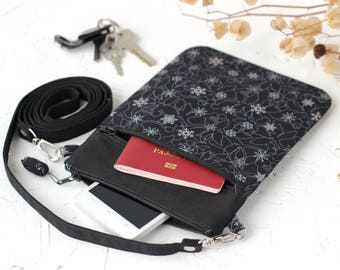 Crossbody Black Purse, Small Winter Shoulder Bag, Travel Document Holder Purse, Messenger Crossbody Vegan bags, Wife Gift Christmas