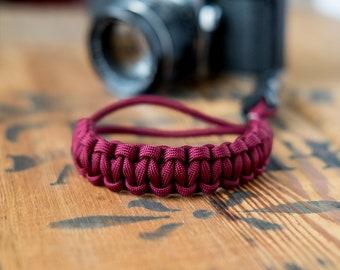 Camera Wrist Strap – Burgundy / Gunmetal Clip – apmots - Sling Paracord Mirrorless DSLR Compact