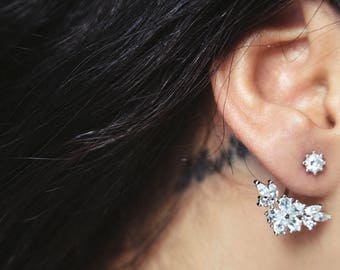 Cubic zirconia floral ear jacket in sterling silver plate