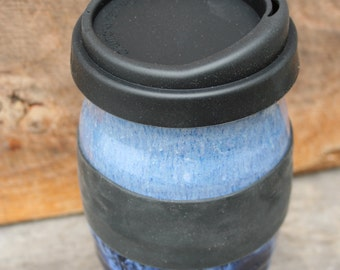 Pottery travel mug! Blue ceramic to-go cup with silicon lid. Take your coffee or tea with you without leaving your favorite mug behind.