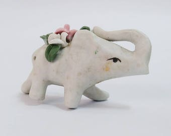 Vintage Flowered Elephant Figurine