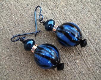 Murano Glass Earrings - Blues Gone Wild (GE073)