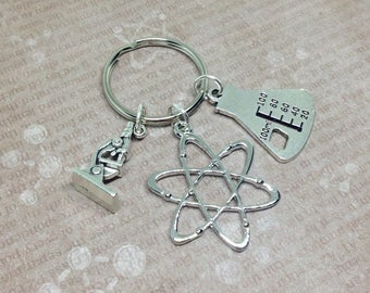 Atom Keyring, Atom Keychain, Microscope Keyring, Erlenmeyer Flask Bag Charm, Atom Bag Charm, Science Bag Charm, Atomic Symbol, Student Gift