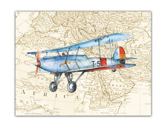 Airplane Map decor Aviation nursery art Old map Boys art Vintage airplanes propeller Retro airplane Vickers Vildebeest Boy nursery wall art