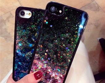 Black cover on Iphone 6 6s with sparkling hearts, liquid sand, quicksand