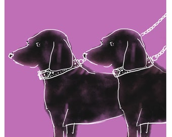 Two Little Dachshunds Card- Sausage Dog - German Weiner - Doxie