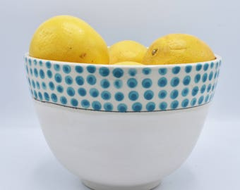 Serving Bowl with Turquoise Polka Dots