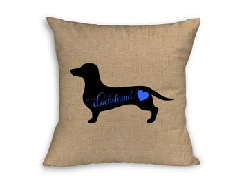 "Blue Dachshund Pillow Cover, Pillow Cover, Dachshund Pillow Cover, 18"" x 18"" Zip Pillow Cover"