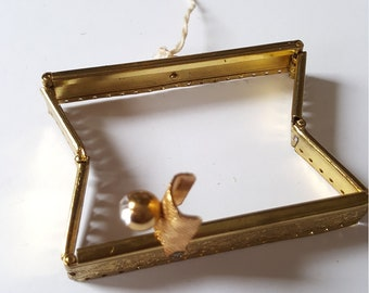 Vintage NOS 1930s/40s expandable purse handbag metal frame gold