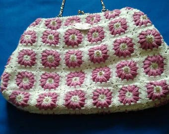 Pink and white crochet purse