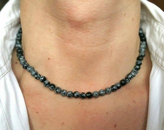 MENS NECKLACE Obsidian Necklace Necklace for Men Mens Jewelry Mens Beaded Necklace Gemstone Necklace Matt Onyx Necklace