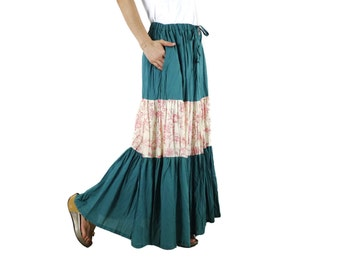 Meet You There... Steampunk Funky Boho Dusty Red Floral Printed Natural Color & Teal Green Tiered Light Cotton Skirt With 2 Pockets
