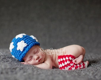 American Flag Crochet Baby Boy or Baby Girl Hat and Leggings Set July 4th Patriotic Newborn Photography Prop