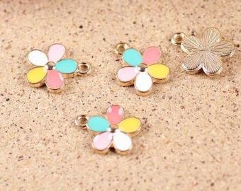 10 pcs of antique gold colorful flowers charm pendants  16x12mm beautiful five colours flower pendants