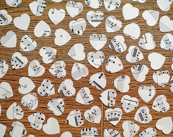 100 Music Confetti Wedding Hearts, Vintage Music Hearts, Shabby Chic, Rustic Table Sprinkles