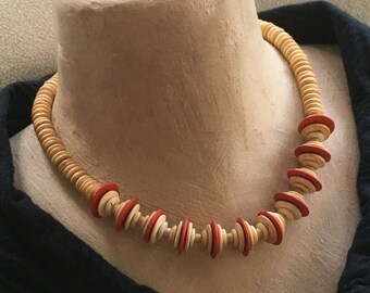 Early Miriam Haskell Wood Necklace Vintage Red Disc Bead Loop Clasp Unsigned Statement