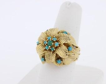 14K Gold Turquoise Flower Ring