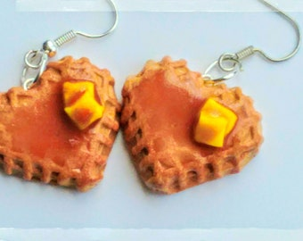 Heart Waffle Earrings - Miniature Food Jewelry - Inedible Jewelry - Breakfast Jewelry - Waffle Jewelry - Kid's Jewelry - Junk Food Jewelry