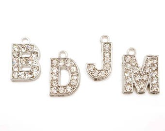 4 Antique Silver Initial Alphabet Rhinestone Charms - You Choose - 31-14