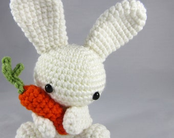 Easter Bunny with Carrot - Plush Bunny Toy - Crochet White Rabbit - Amigurumi Cute Bunny with Carrot - Easter Toy - Plush Bunny Rabbit Toy
