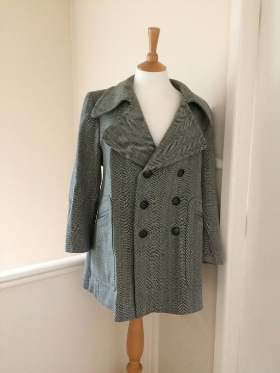 Men's 1960's Grey herringbone Mod pea coat Large (42) 80jil3XV