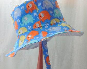 Baby Boy Hat, 6 to 12 Month Reversible Bucket Hat, Child Sun Hat