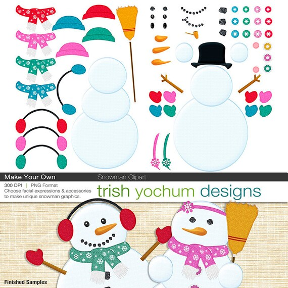 snowman clipart snowman digital pngs winter christmas rh etsy com  how to make your own clipart