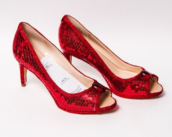 Ready to Ship - WMNS Size 7 Candy Apple Red Sequin Peep Toe High Heels Pumps Shoes