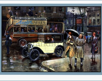 Austin, Cars, Baby Austin, Rainy Day, Advertising, 1930s, Art Deco, Print