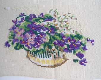 Embroidered gobelin, Embroidered tapestry, Vintage needlepoint tapestry, violet tapestry, vintage embroidery,needlepoint picture, embroidery