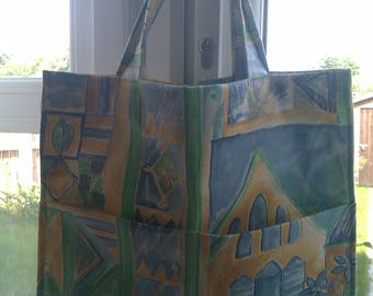 Reusable Shopping Bag, Market Bag, Grocery Bag, Green Cotton Fabric Shopping Bag, Gift for her