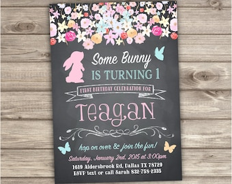First Birthday Invitations Some Bunny is turning one 1st Birthday Spring Flowers Butterfly Invitations Bunny invitation NV033
