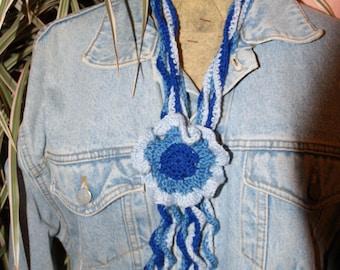 SCARF scarf crochet with sliding flower GRANNY