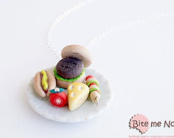 Food Jewelry Hamburger Necklace BBQ Jewelry Miniature Food Polymer Clay Food Necklace Mini Food Jewelry Food Jewellery Kawaii Necklace