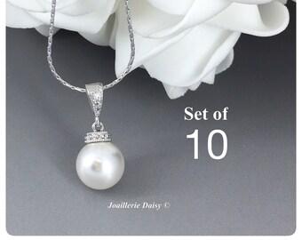 Set of 10 Swarovski Necklace Bridesmaid Gift Bridesmaid Jewelry Gift for Her Necklace Jewelry Wedding Jewelry Gift for Her Bridal Necklace