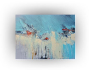Red, Turquoise And Teal Home Decor, Red Abstract Art, Office Decor, Master