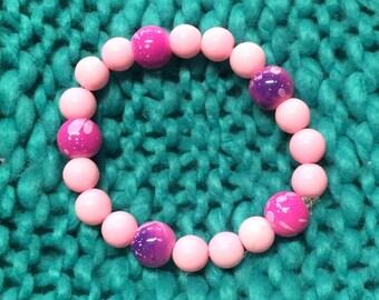Pink bracelet, pink jewelry, pale pink bracelet, pale pink jewelry, pink and purple bracelet, girls bracelet