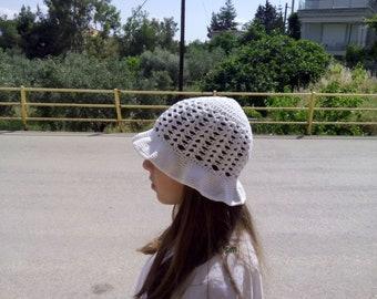 summer hat Crochet, hat for girls, kids hat, white crochet hat, kids summer accessories, white hat, cotton hat, wide brim hat, Crochet hat.