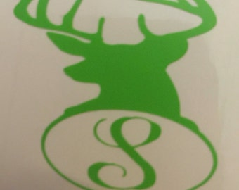 Deer Head Decal/ Name Decal/ Personalized/ Monogram/ Car Decal/ Laptop Decal/ Vinyl Lettering/ Yeti Cup Decal/ Yeti Cup Decal