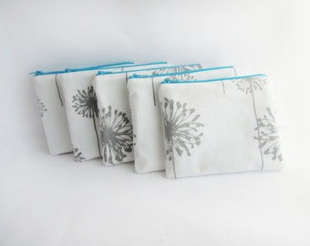 Small Make up bag - Set of 5 - in Grey Dandelion - Monogram Cosmetic Bag - Personalized Make up Pouch - Bridesmaid bag - Small