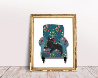Black Cat on floral armchair Wall Art,  Wall Art Printable, Digital Download Art, Wall Art Decor, Home Decor Wall Art, INSTANT DOWNLOAD