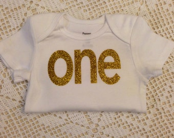 """Gold Glitter Iron-On vinyl """"one"""" lettering for yearly, monthly, or birthday onesie- Lettering ONLY"""