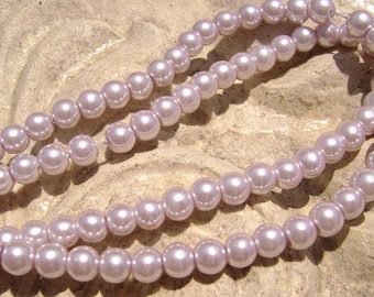 Pearlescent Glass Pearl Pearls Beads Lavender 6mm Round LARGE 30mm Strand