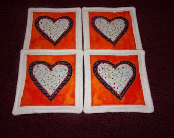 Cream Black on Orange VALENTINE's DAY Country HEARTS Fabric Coasters Mug Mats Hot Pads Scatter Mats Trivets