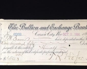 The Bullion and Exchange Bank, Oct. 9, 1891, Carson City, Nevada.  Certificate of Deposit, Antique check,,