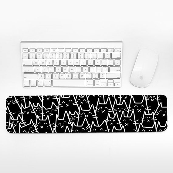 Cat Keyboard Wrist Rest Pad, Black and White Wrist Keyboard Pad, Wrist Pad for Keyboard Rest, Decor Office Desk Accessories for Men Women