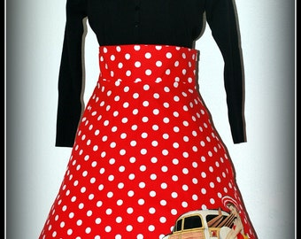 Retro Rockabilly Red and White Polka Dot Skirt with Tiki Pin up Girl.....   Size L