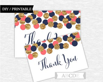 Instant Download Polka Dots Glitter Gold Confetti Thank You cards Thank You notes Birthday party Baby shower ( CON203)