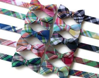 Boys Madras Plaid Bow Ties~Boys Bow Tie~Boys Plaid Bow Ties~Cotton Bow Tie~Navy Bow Tie~Church Tie~Plaid Bow Tie~Wedding~Ring Bearer~Gift