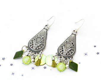 fused glass dichroic sequin lime green Pearl enamel earrings